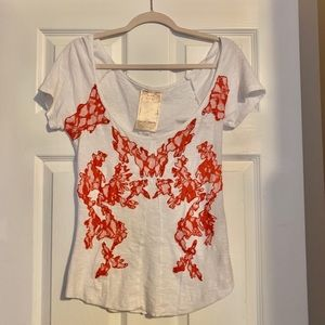 Free People New Romantics white tee red lace S